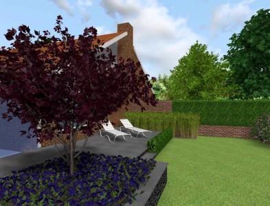 3D tekening achtertuin